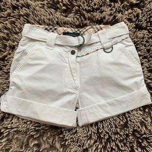 Burberry girl white shorts adjustable sz 6yo
